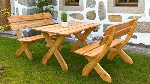 Holz Gartengarnitur Sitzgruppe VOLDA 3 teilig 2 Bänke 1 Tisch - 1